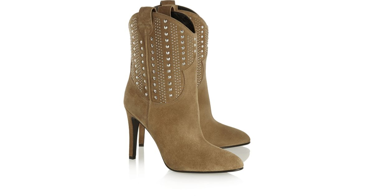 All Goods Saint Laurent Ankle Boots Suede Tan Debbie Studded