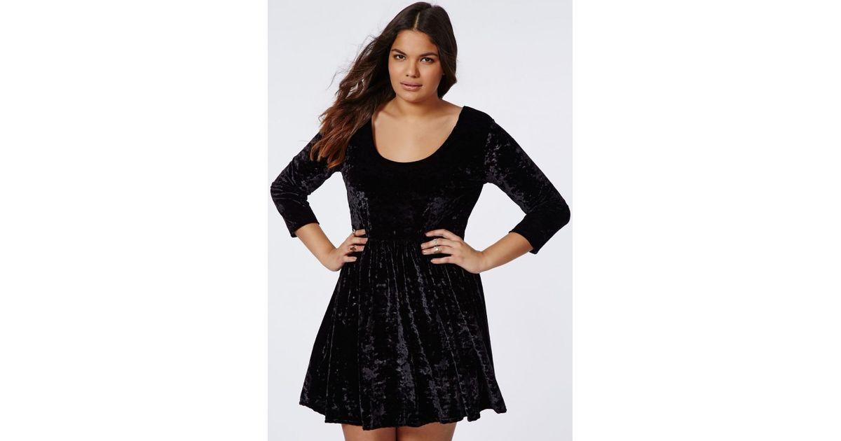 Missguided Plus Size Crushed Velvet Skater Dress Black
