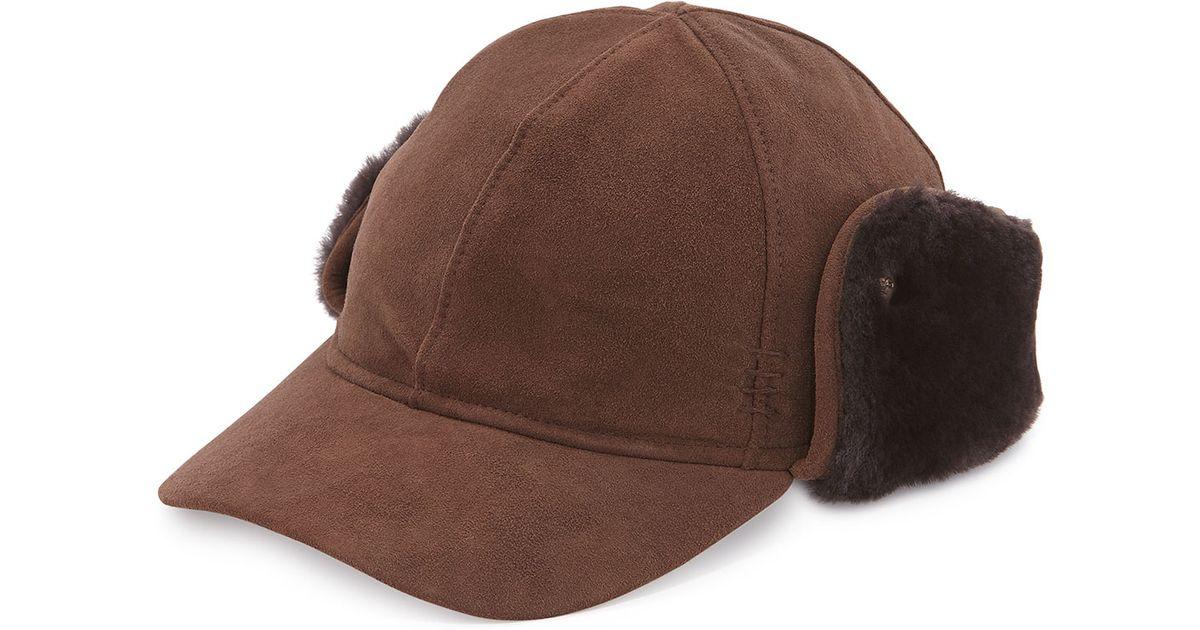 46d40489c UGG Multicolor Suede Cap W/shearling Ear Flaps for men