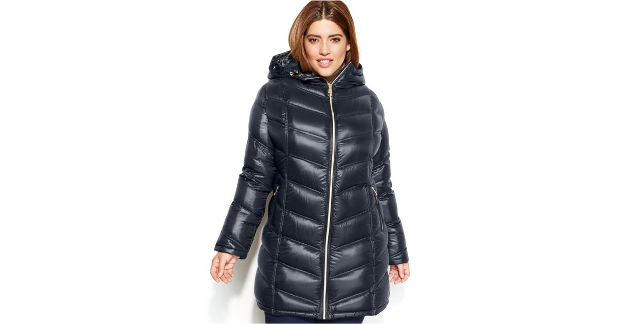 Lyst - Calvin Klein Plus Size Quilted Down Packable Puffer Coat in Blue 89ab5bf0fd