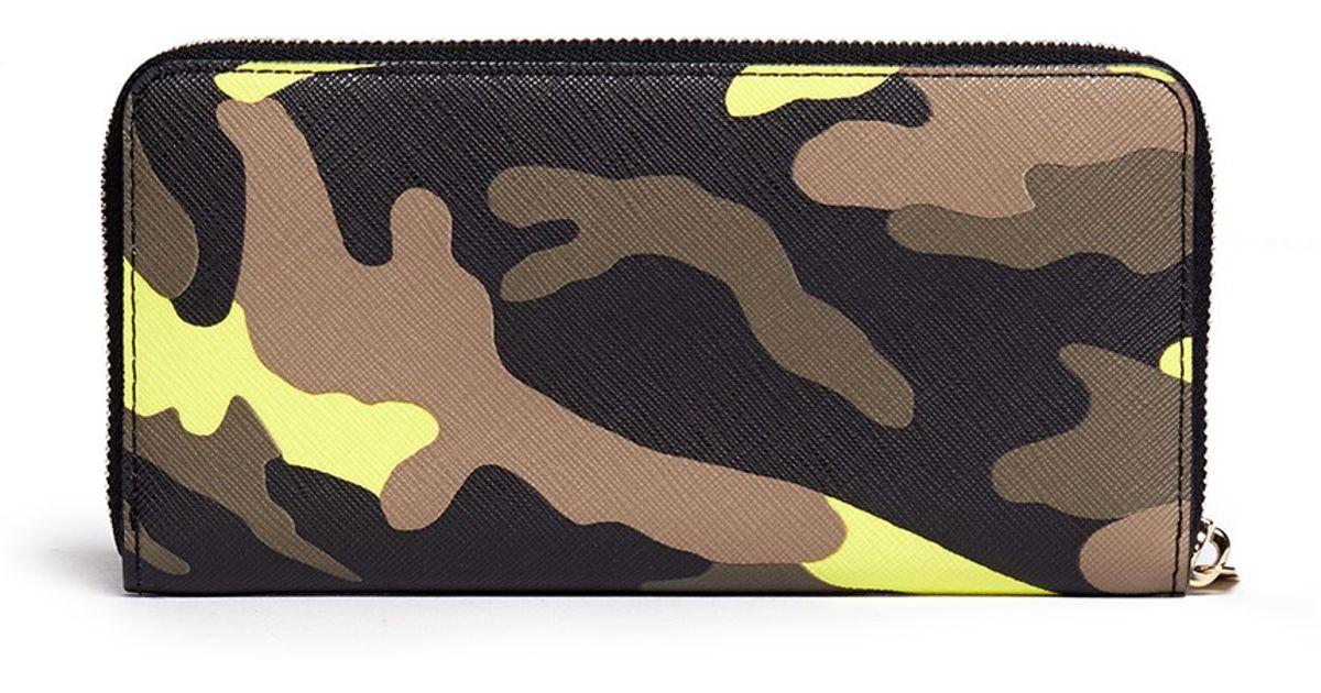 062131119bbc Michael Kors 'jet Set Travel' Camouflage Zip-around Continental Wallet in  Green - Lyst