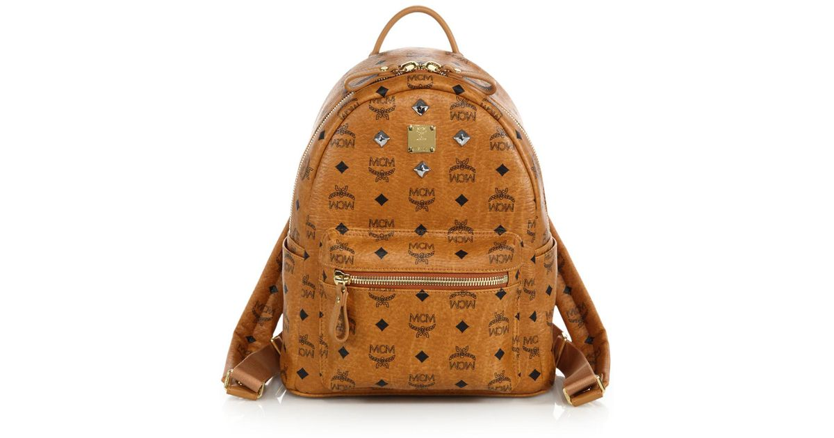 Mcm Brown Stark Sprinkle Stud Small Coated Canvas Backpack