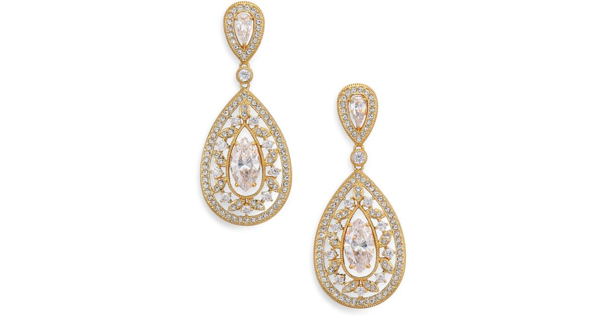 Adriana orsini Pave Crystal Small Pear Drop Earrings ...