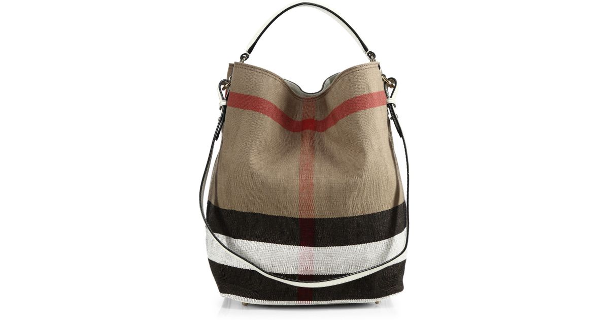 Lyst - Burberry Ashby Medium House Check Canvas Shoulder Bag in Natural db33dd4320fb6