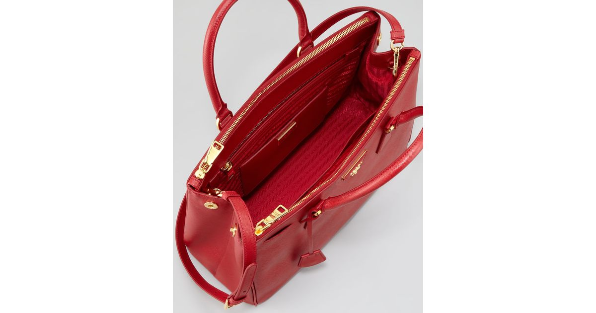 b9b034d2a742b9 Prada Saffiano Small Double-zip Executive Tote Bag in Red - Lyst