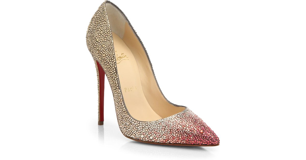 c9d3f16f4ec Lyst - Christian Louboutin Pigalle Ombré Crystal-Embellished Pumps in Pink