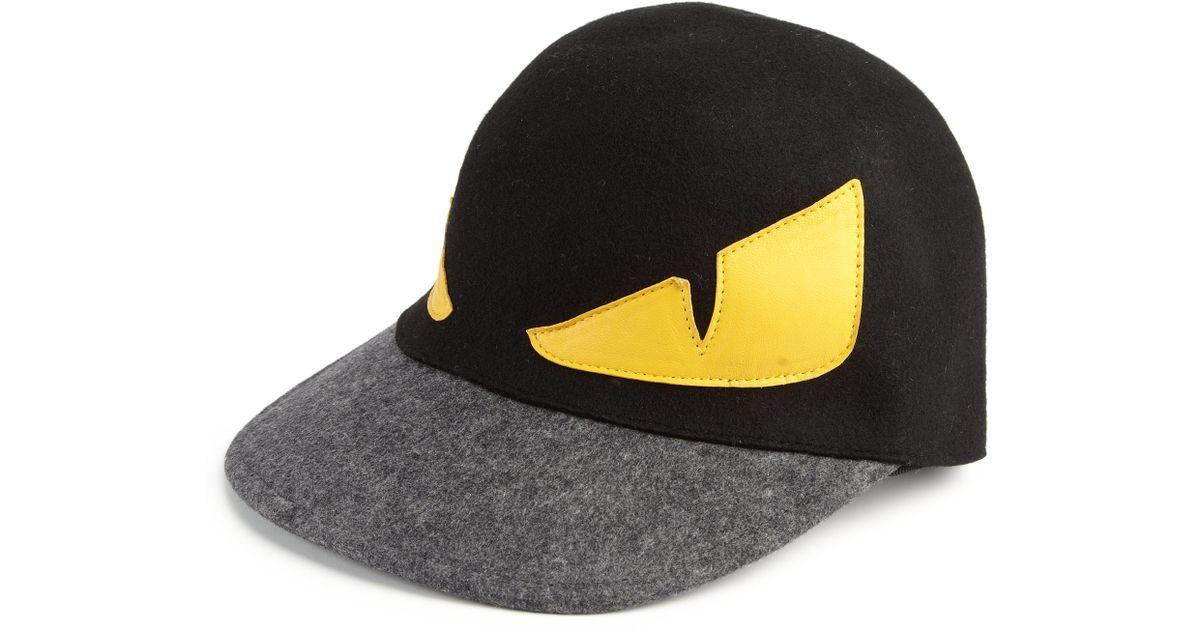 Lyst - Fendi Monster Wool Baseball Cap in Black for Men fbd15ae7c64
