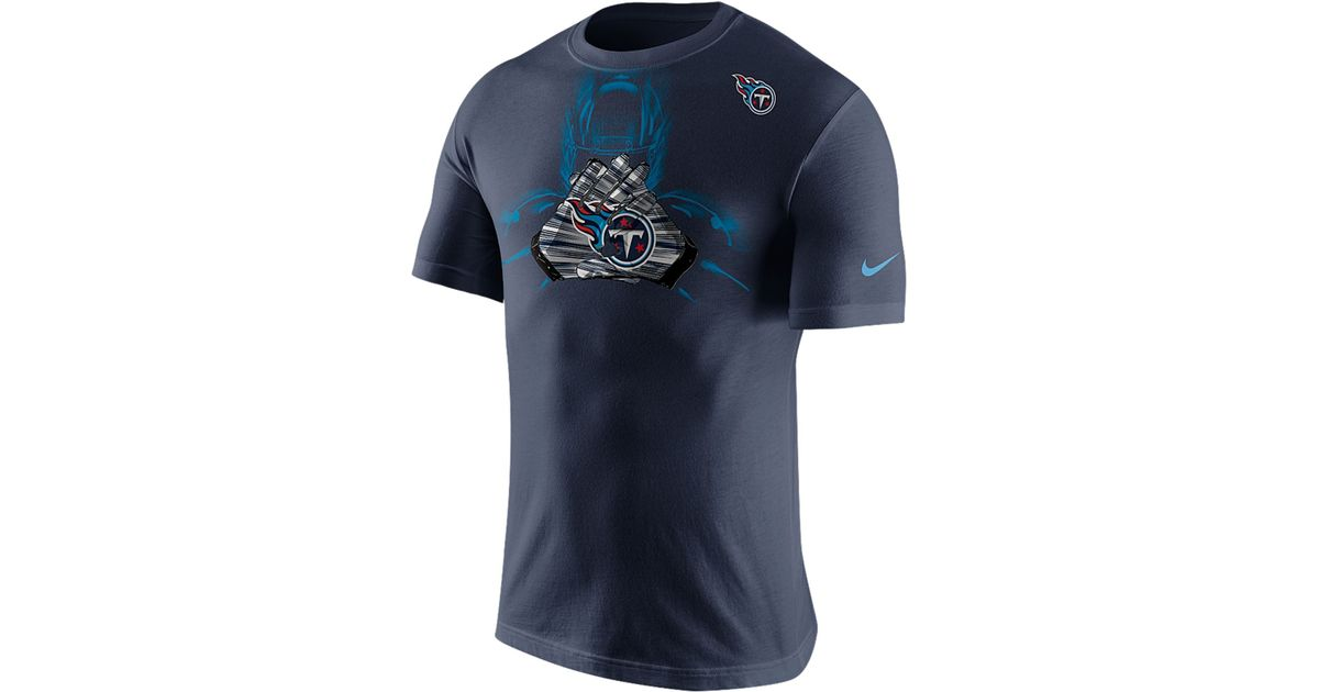 Wholesale Nike Men's Short sleeve Tennessee Titans Glove T shirt in Blue for  for cheap