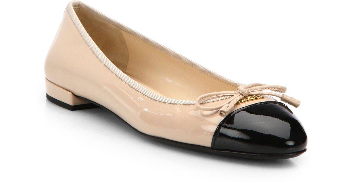 3caffb05388 Lyst - Prada Patent Leather Cap-Toe Ballet Flats in Black