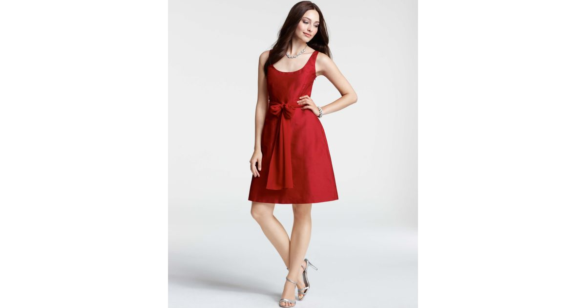 e624dedc3d Lyst - Ann Taylor Silk Dupioni Scoop Neck Dress in Red