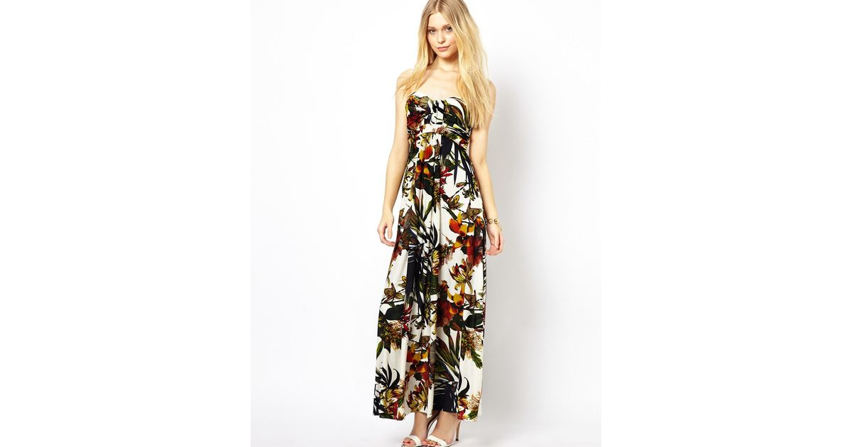 Ax paris Strapless Floral Maxi Dress in White  Lyst