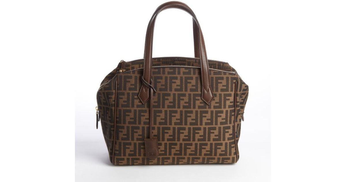 81b43f0b41f1 Lyst - Fendi Tobacco Zucca Canvas Trio Tote in Brown