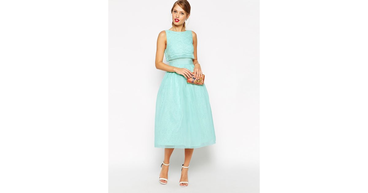 3b5ff0e0cdd00 Lyst - ASOS Lace Crop Top Midi Prom Dress in Green