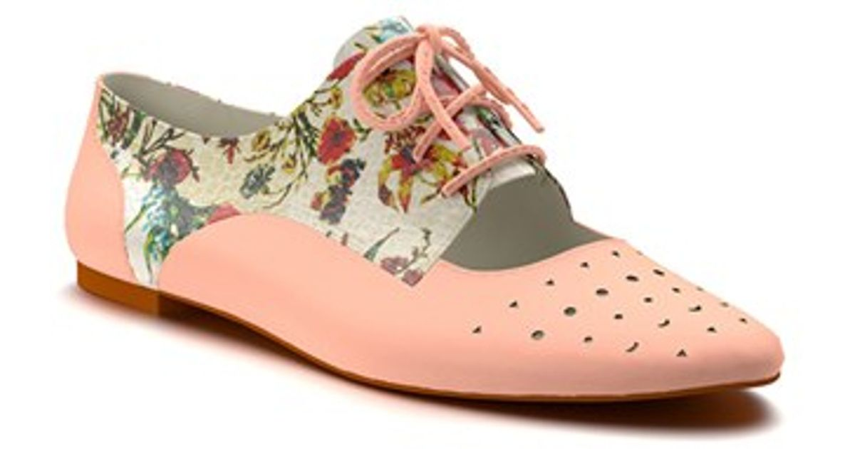 shoes of prey floral print cutout oxford in pink lyst