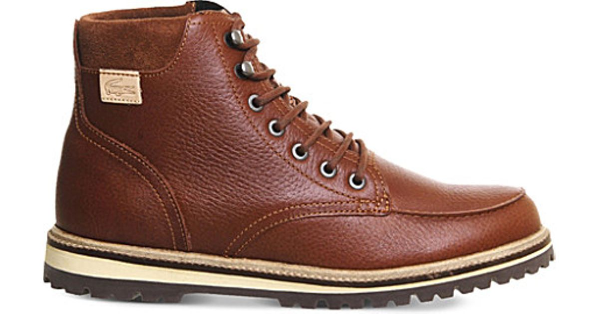 bdc87824f Lacoste Montbard Leather Boots in Brown for Men - Lyst