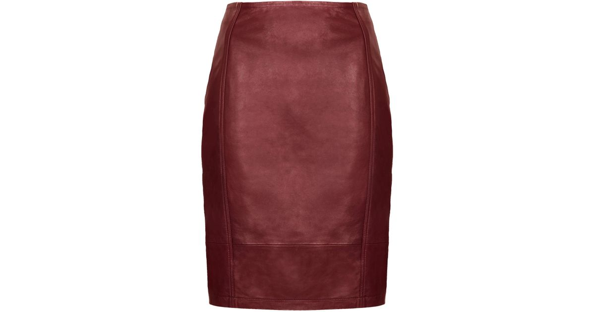 topshop leather panel pencil skirt in lyst