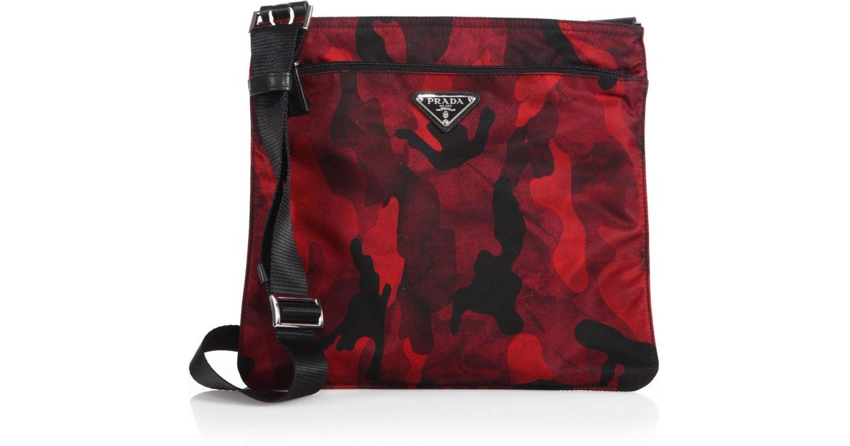 ec3645086089 Prada Tessuto Camouflage Small Crossbody Bag in Red - Lyst