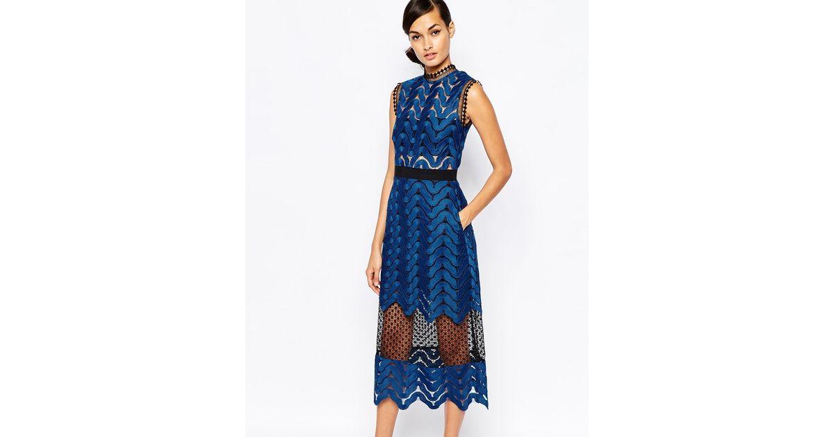 ac8a2a5c08bf Self-Portrait Scallop High Neck Midi Dress in Blue - Lyst