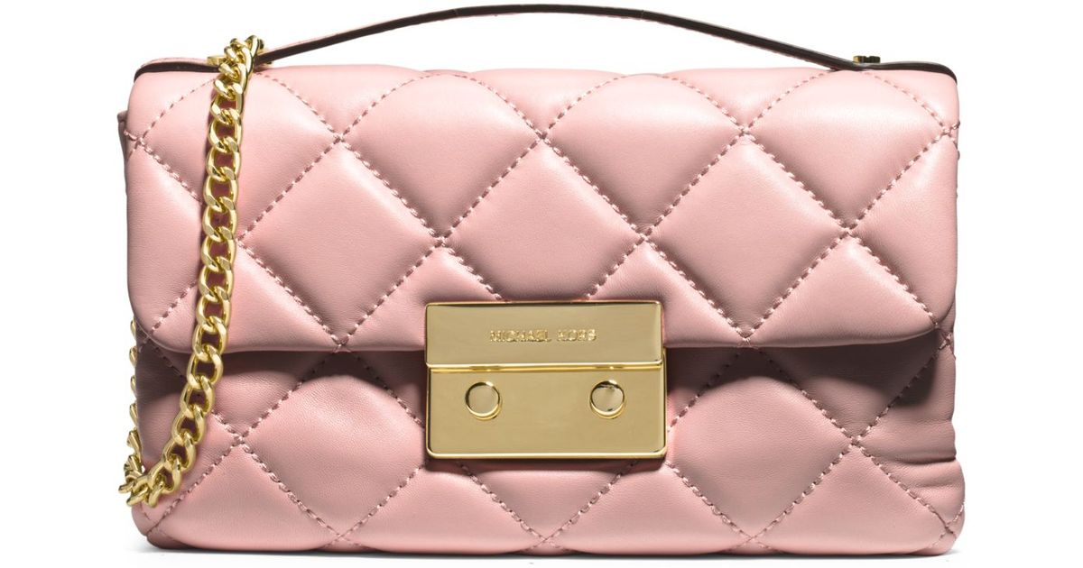 b12df0f78253 Lyst Michael Kors Sloan Small Quilted Cross Body Bag In Pink