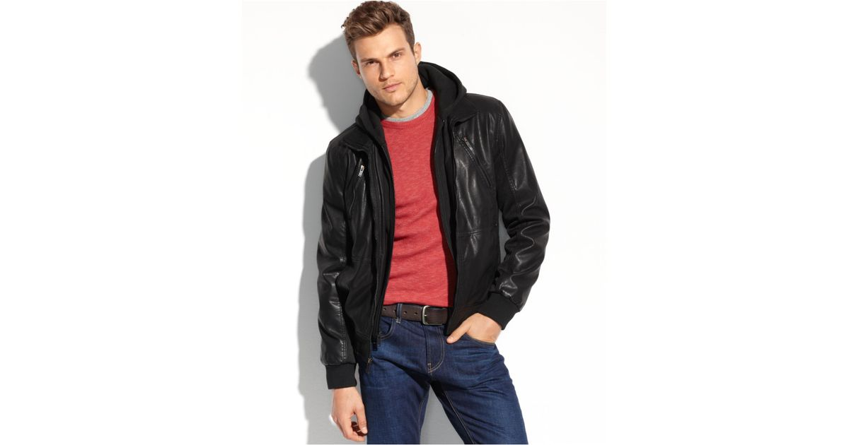 8ac40fa27 Guess Faux Leather Hooded Bomber in Black for Men - Lyst