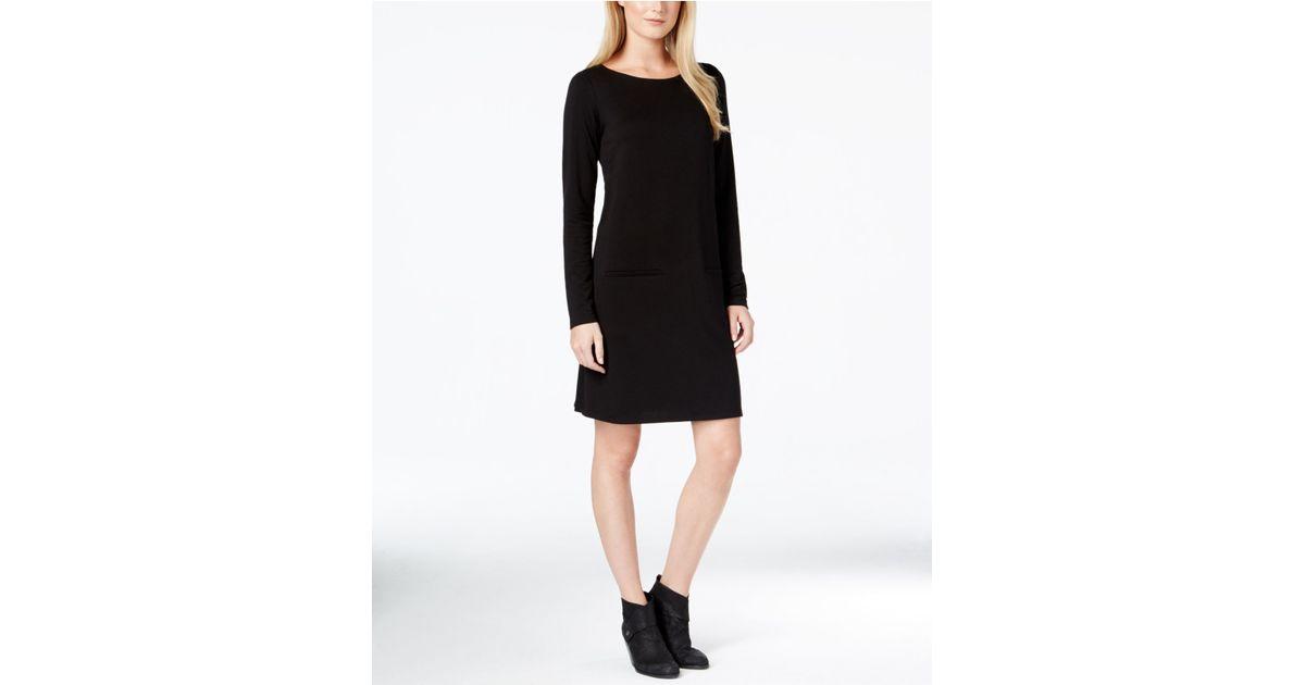 c9a05547ea Eileen Fisher Boat-neck Long-sleeve Dress in Black - Lyst