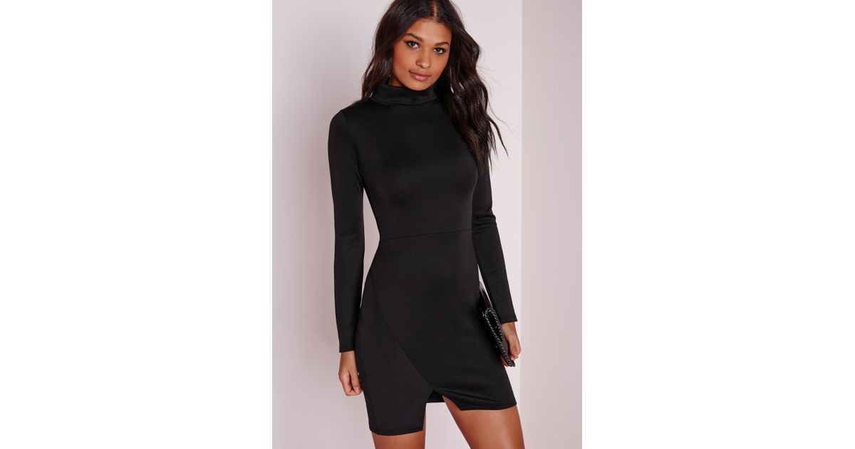 Lyst Missguided High Neck Long Sleeve Wrap Bodycon Dress Black In