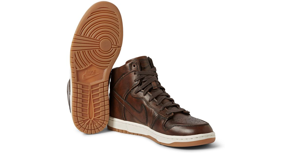 newest collection eada4 7b30d Nike Lab Dunk High Sp Burnished Leather Sneakers in Brown for Men - Lyst