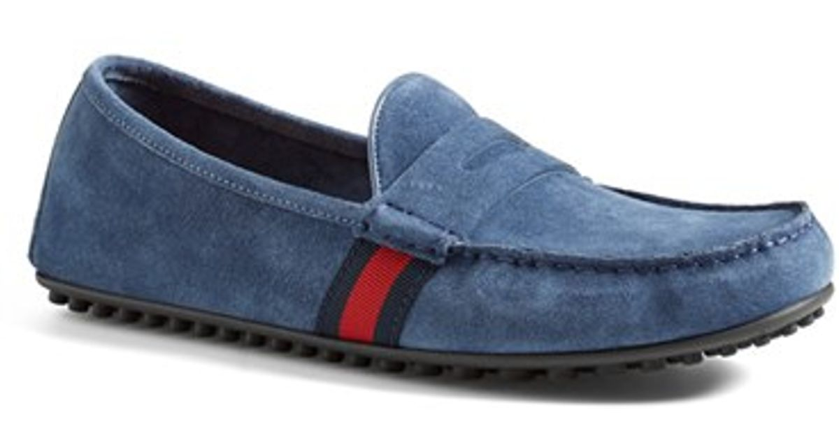 3903656531e Lyst - Gucci  kanye  Driving Shoe in Blue for Men
