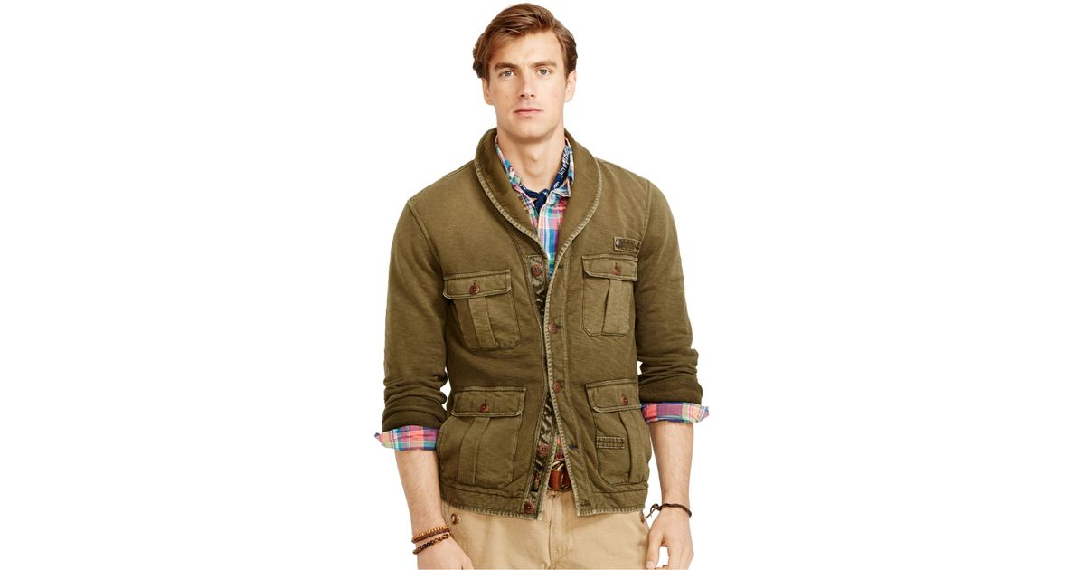Polo ralph lauren French Terry Shawl Cardigan in Natural for Men | Lyst