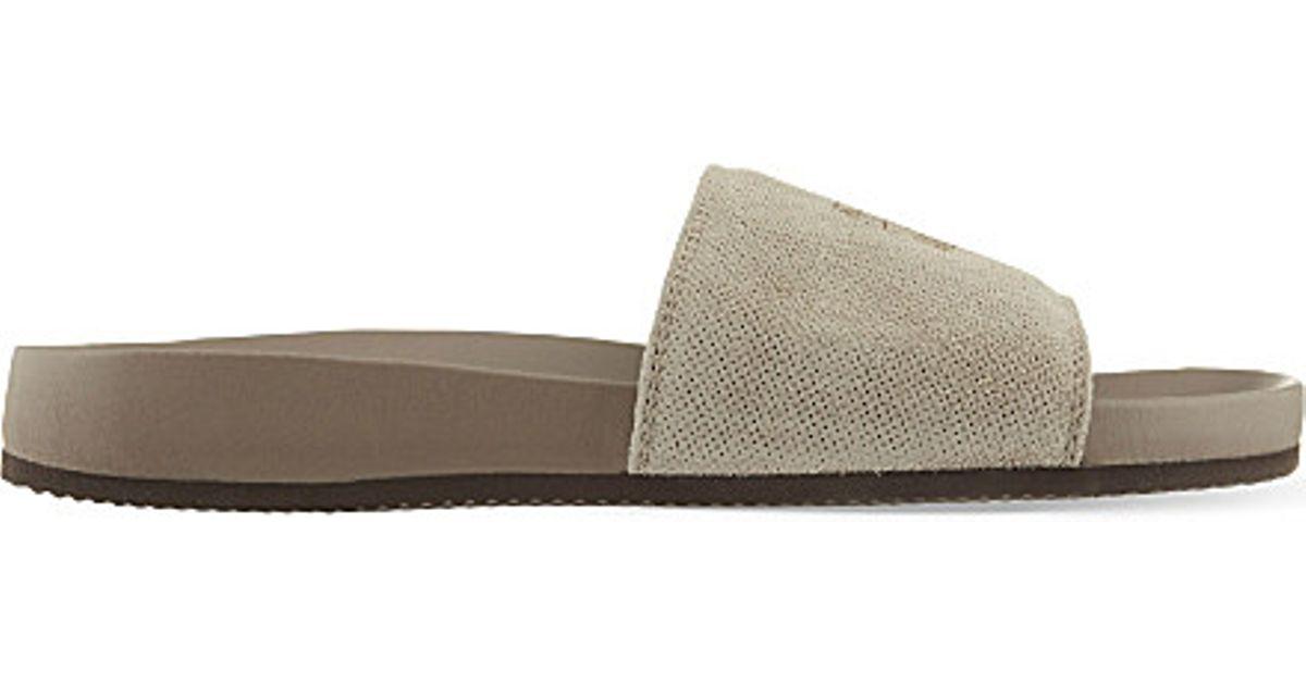 Brunello Cucinelli Suede Slide Sandals