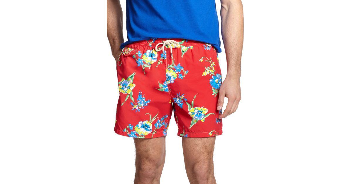 b4242dd671 Polo Ralph Lauren Traveler Margarita Floral Print Swim Shorts in Red for  Men - Lyst