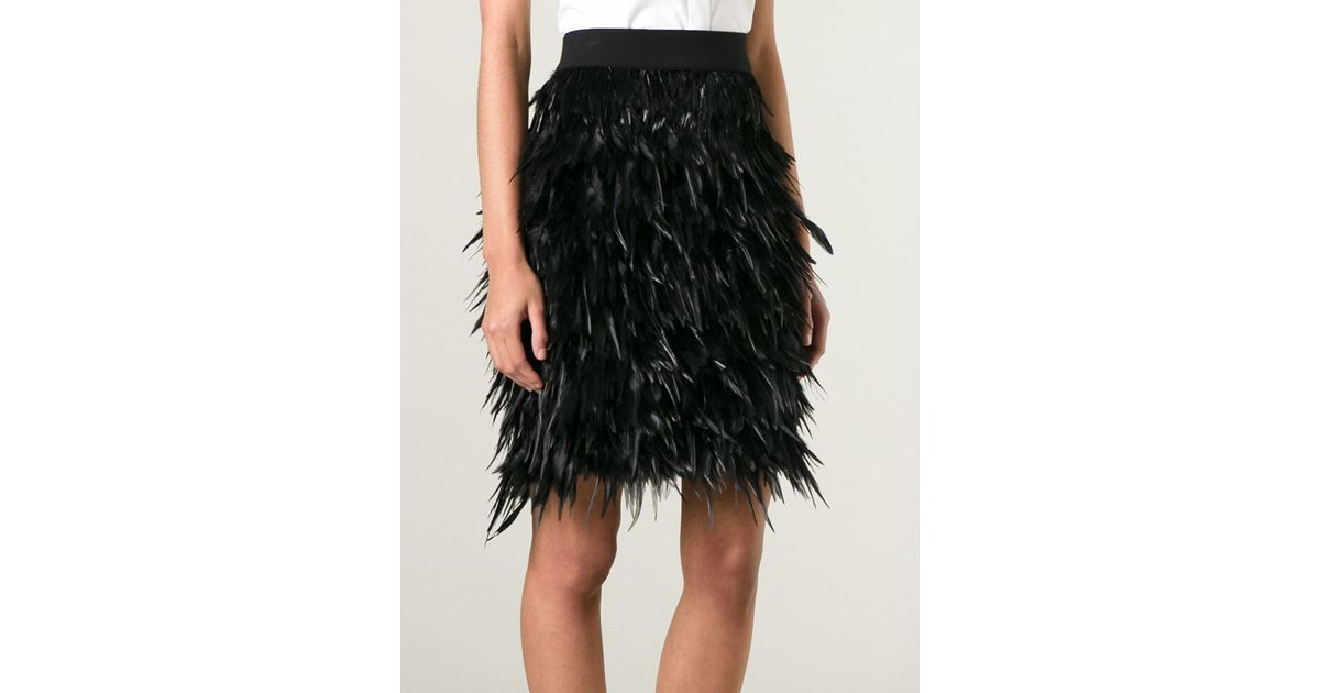 48487712f DKNY Feather Skirt in Black - Lyst