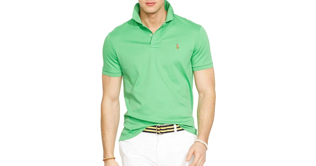 ceb96c745 Ralph Lauren Polo Pima Soft-touch Polo Shirt - Regular Fit in Green for Men  - Lyst