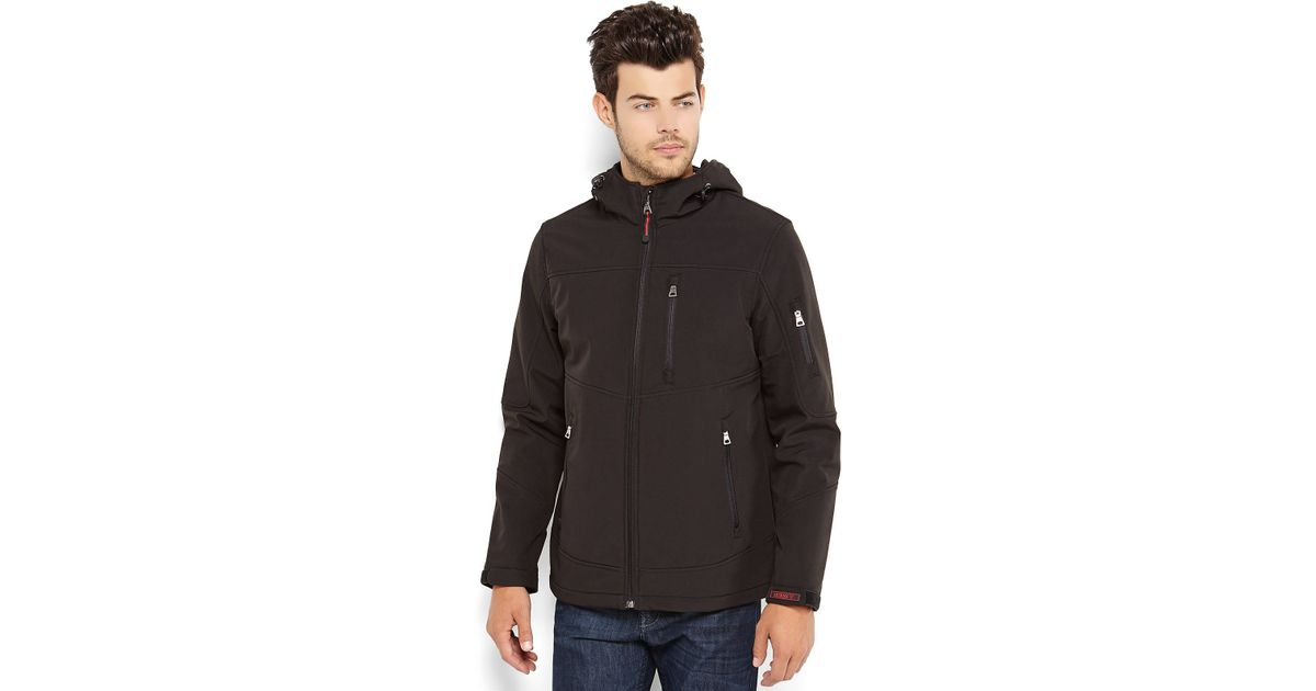 0e34a02a9 Guess Black Hooded Soft Shell Jacket for men