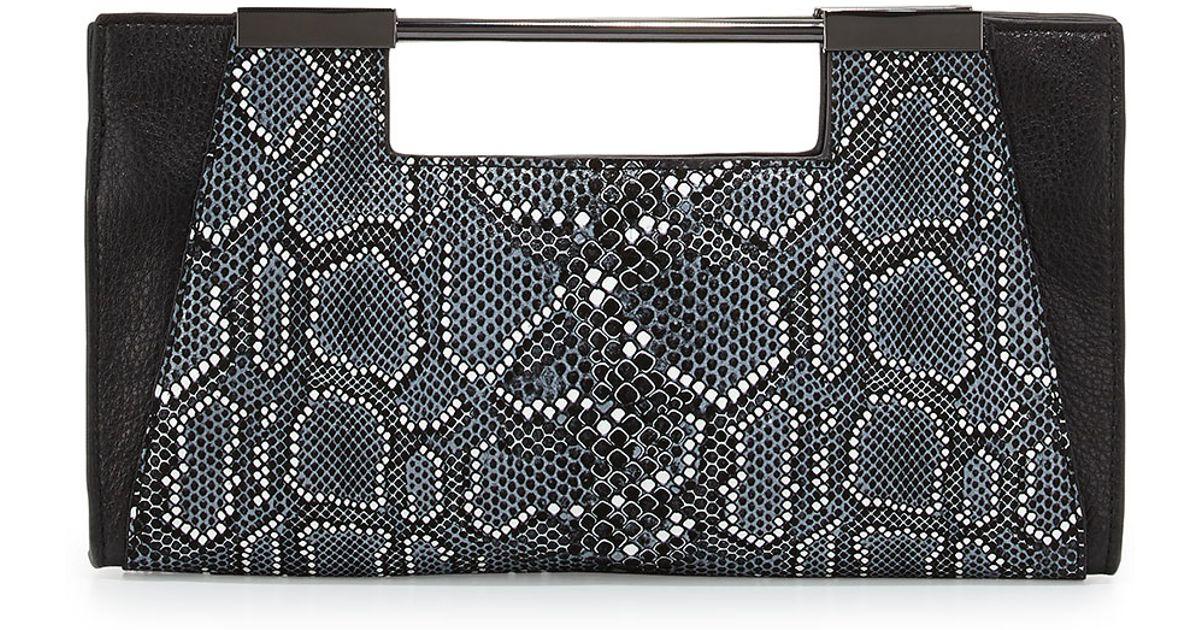 423abfcff0 Lyst - Halston Lauren Python-print Leather Clutch Bag in Black