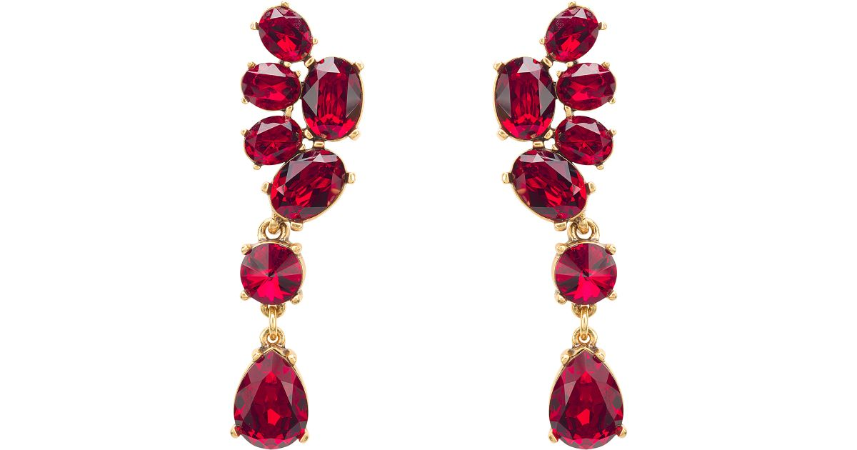 376ad4e29d17 Lyst - Oscar de la Renta Swarovski Crystal Asymmetrical Earrings in Red