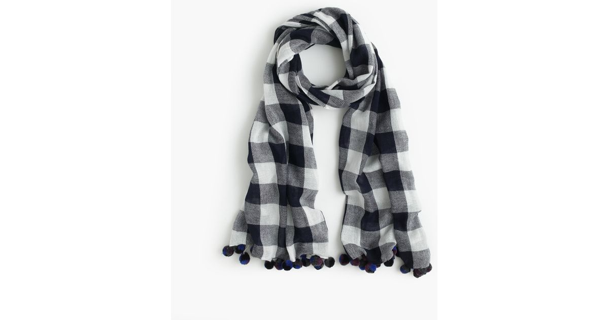 buffalo plaid pom pom scarf in blue navy ivory lyst. Black Bedroom Furniture Sets. Home Design Ideas