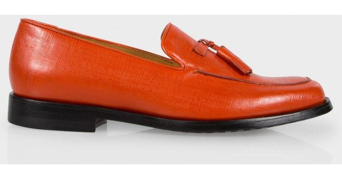 8e8b2c0a53c Lyst - Paul Smith Women s Burnt Orange Saffiano Leather Tasseled  stevenson   Loafers in Orange