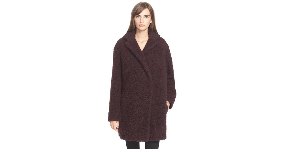 Kenzo Faux Shearling Wool Blend Coat in Purple | Lyst