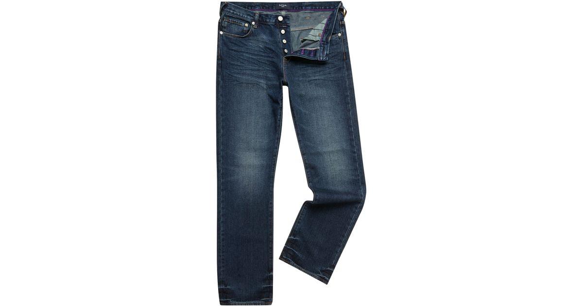 paul smith bootcut light wash jeans in blue for men denim. Black Bedroom Furniture Sets. Home Design Ideas