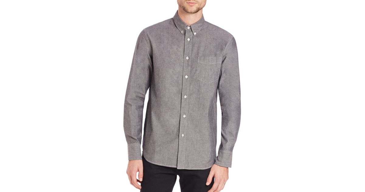 Rag bone chambray shirt in gray for men lyst for Rag and bone mens shirts sale