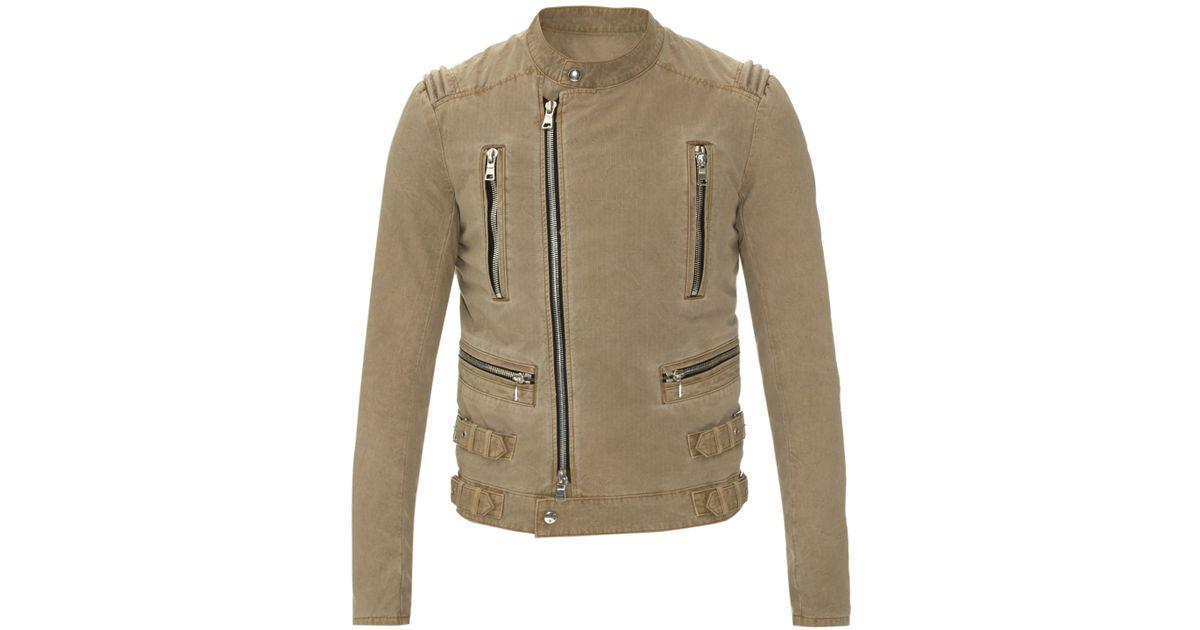 6da1c96e0 Balmain Natural Micro-checked Cotton Biker Jacket for men