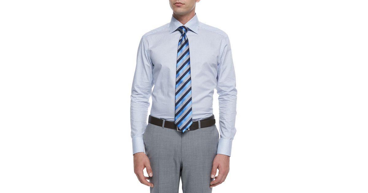 56600134 Ermenegildo Zegna Blue Shadow Box-check Dress Shirt for men