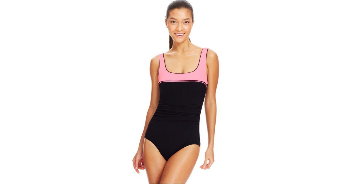 0423298100 Lyst - Reebok Sugarcoat One-piece Swimsuit in Black
