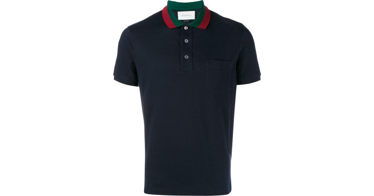 5d9db5dd9 Gucci Striped Collar Polo T-shirt in Blue for Men - Lyst