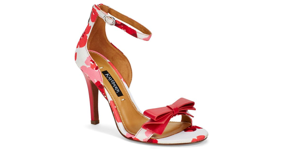 Kay unger Baroque Floral Heels in Red | Lyst
