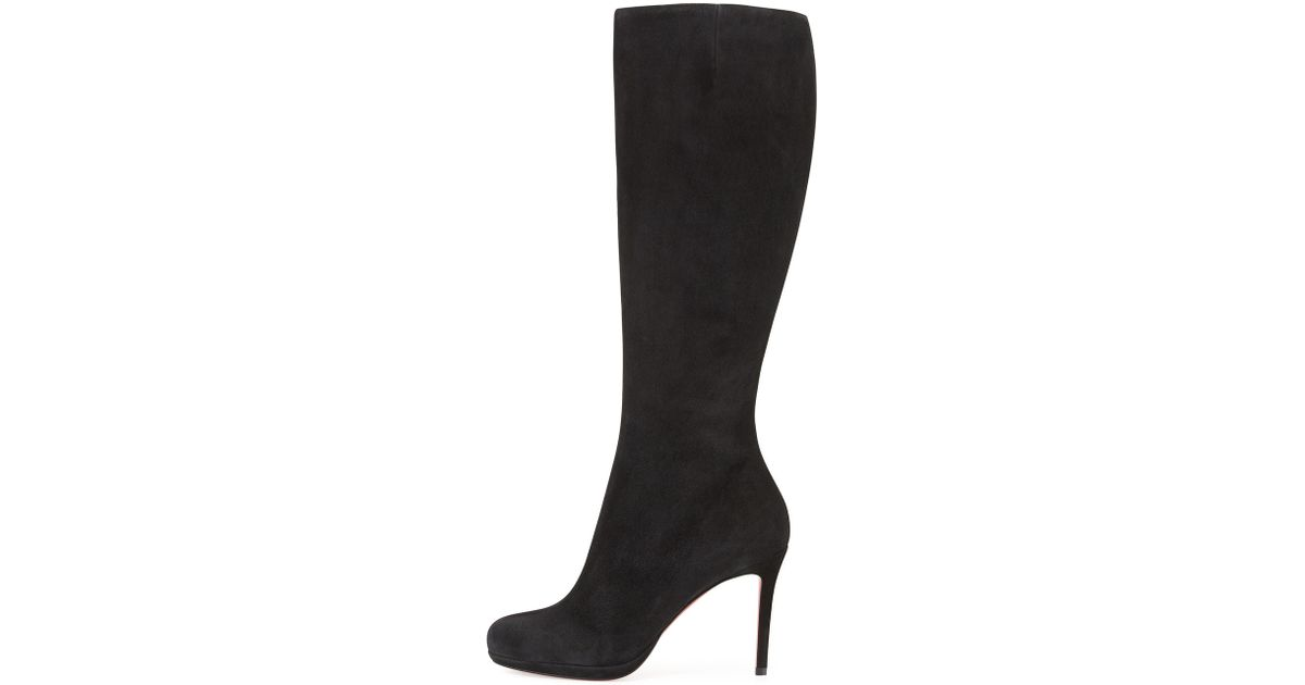 buy popular 999c4 144cc Christian Louboutin Black Botalili Suede Knee Boots