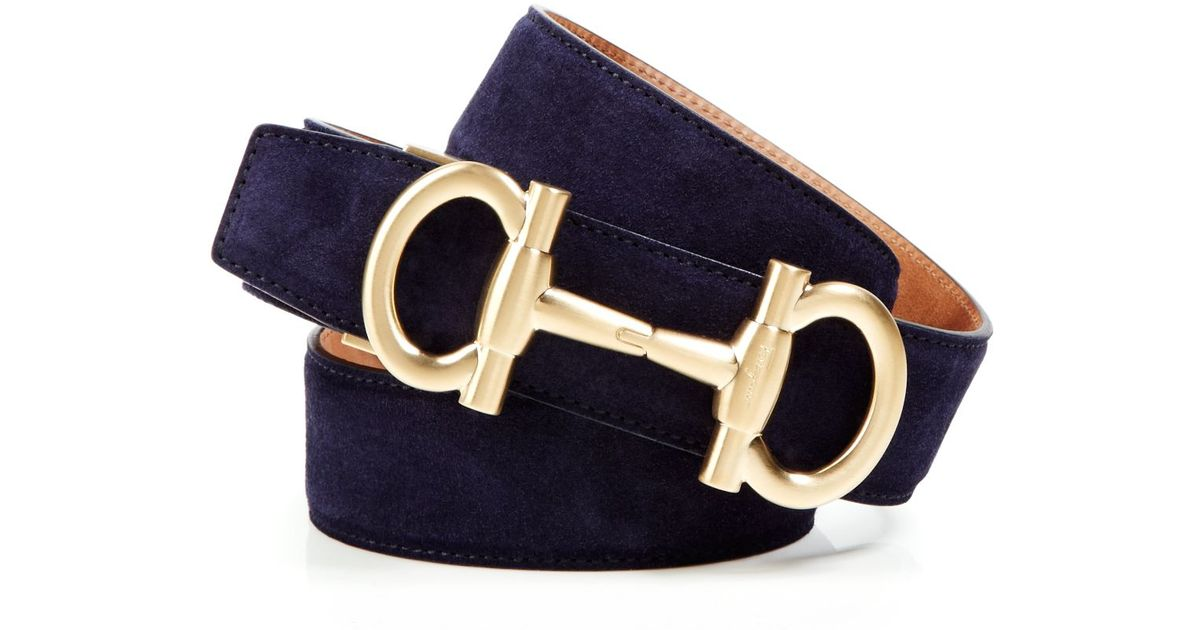 Ferragamo Suede Belt With Bit Buckle In Blue Marine Blue