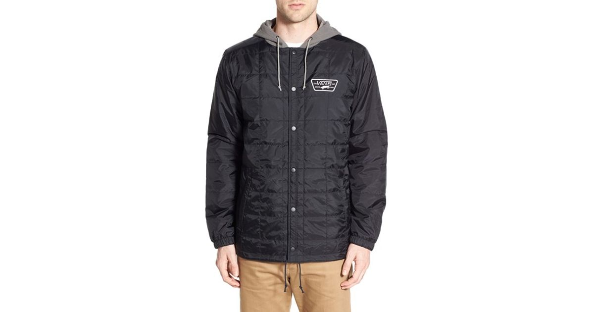 Lyst Vans Santiago Ii Quilted Hooded Coach Jacket In Black For Men