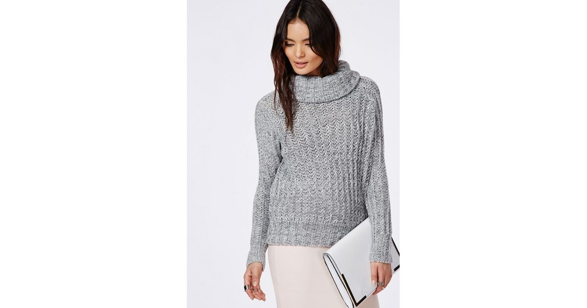 Lyst - Missguided Carina Chunky Knit Roll Neck Jumper Grey in Gray 3b9314883